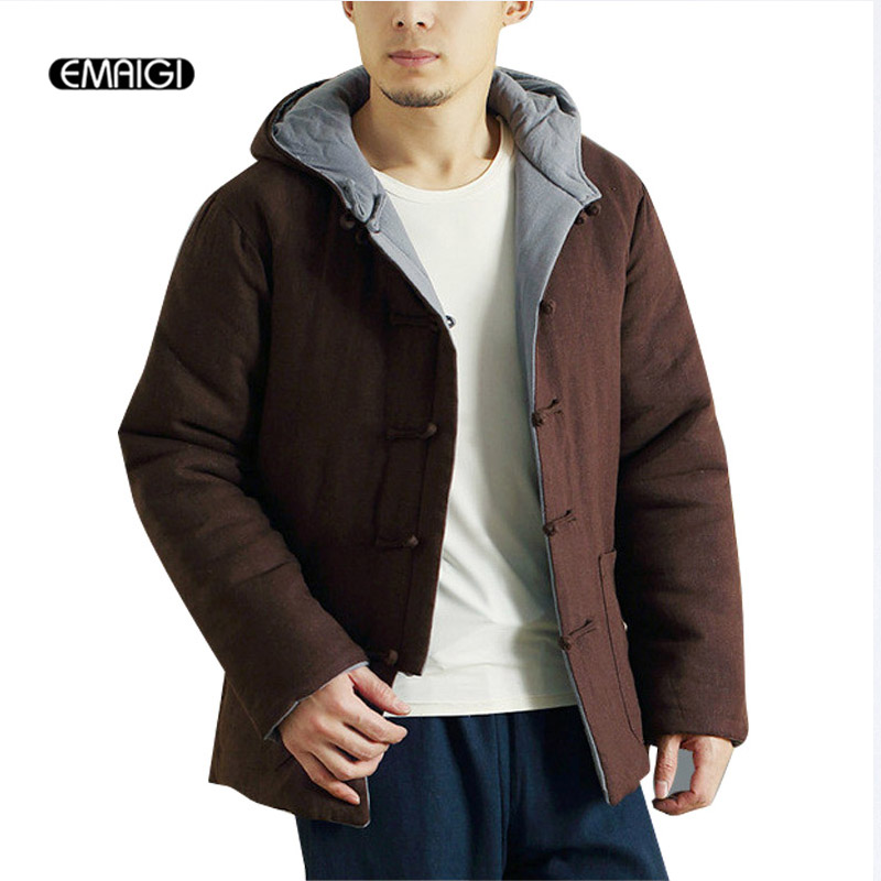 Winter Chinese Retro Mens Jacket Double Sides Wear Casual Hooded Coat Male Thick Warm Parkas Linen