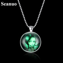 Seanuo 5 kinds concise Glass night glowing Fluorescence necklace jewelrys for men women fashion Christmas Luminous necklace gift(China)