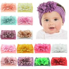 Yundfly Newborn Toddler Baby Girls Head Wrap Double Lotus Flowers Knot Turban Headband Hair Accessories Birthday Gifts for 0-3Y