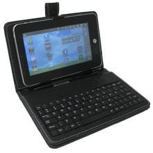 Funda negra para Tablet de 7 pulgadas de piel sintética con soporte para Tablet y teclado Protector