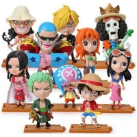 10pcs/lot Funko POP One Piece Cartoon Figures Luffy/Roronoa Zoro/Nami/Sanji/Chopper/Nico Robin/FRANKY/BROOK PVC Model toys Gift