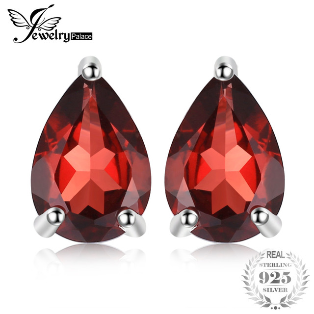 JewelryPalace Water Drop 1.8ct Natural Garnet Solid 925 Sterling Silver Stud Ear