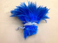 Free shipping 1/bundle 5 6 connected royal blue feather rooster cock feathers for clothing jewelry making bulk sale fly tying