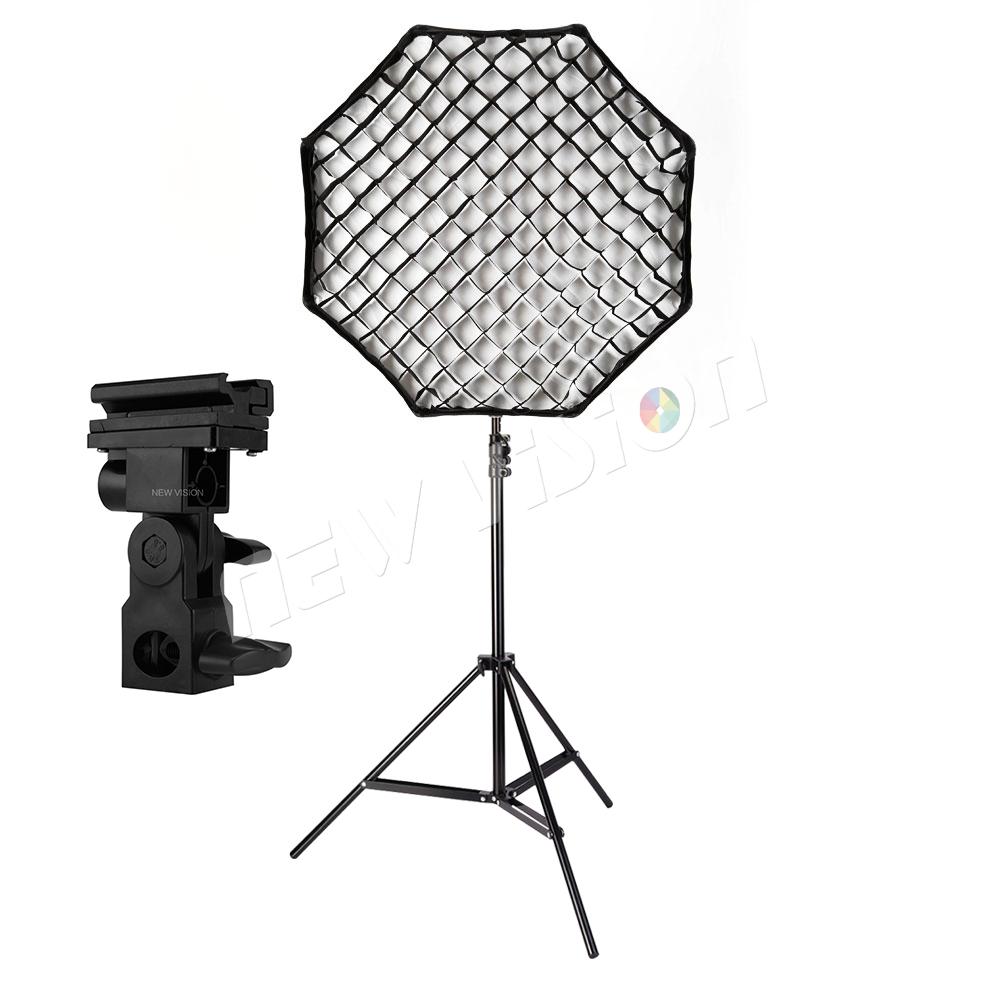 """Prix pour Godox Portable 80 cm/32 """"Parapluie + Grille + Lumière Stand + B Type Flash Hot Shoe Adaptateur Photo Softbox Réflecteur pour Flash Speedlight"""