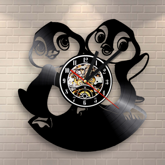 Lustige Nette Penguins 3D Rekord Uhr Tier Thema CD Uhr Cartoons ...