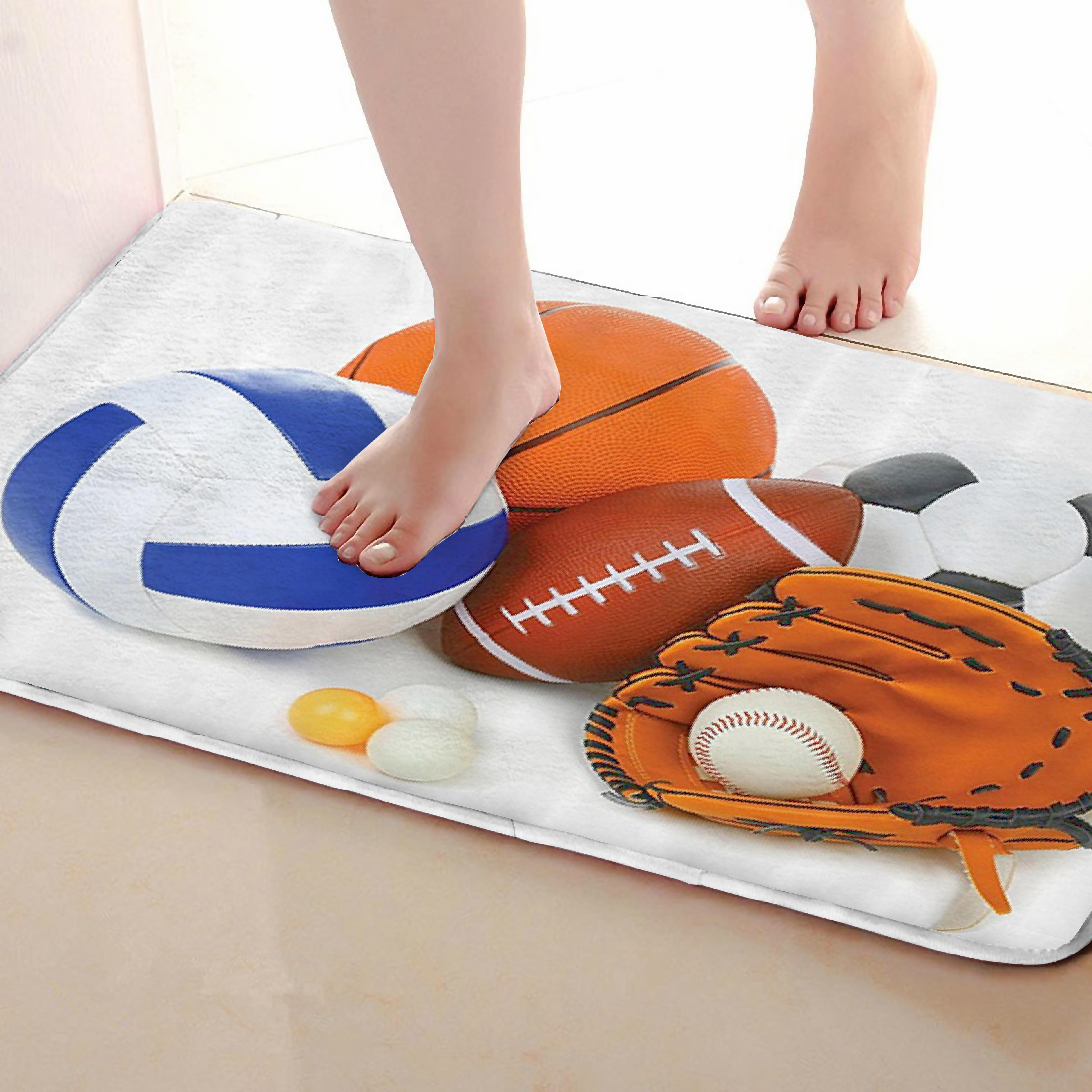 Ball Style Bathroom Mat,Funny Anti skid Bath Mat,Shower Curtains Accessories,Matching Your Shower Curtain