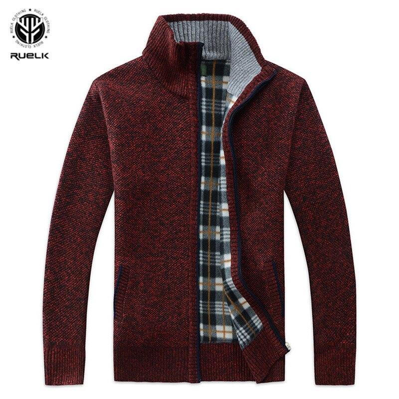 RUELK 2018 Autumn Winter Men's SweaterCoat Faux Fur Wool Sweater Jackets Men Zipper Knitted Thick Coat Casual Knitwear M-3XL