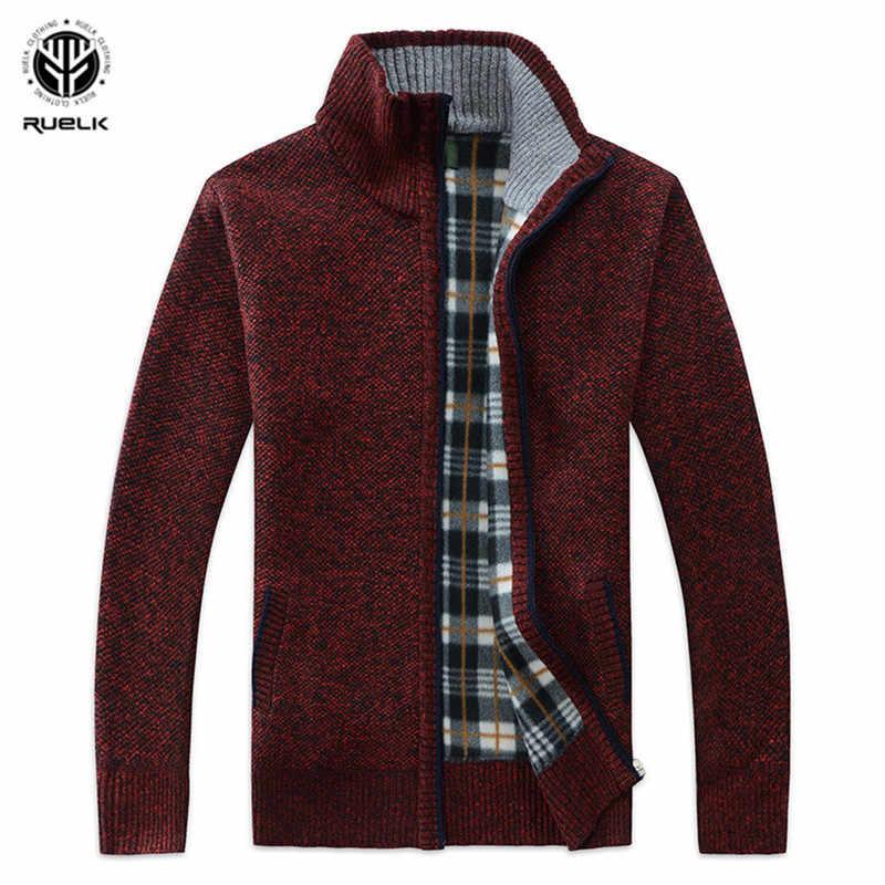 RUELK 2018 осень-зима Для мужчин's свитер искусственный мех шерстяной свитер куртки Для мужчин молния вязаный толстый слой Повседневное трикотаж M-3XL