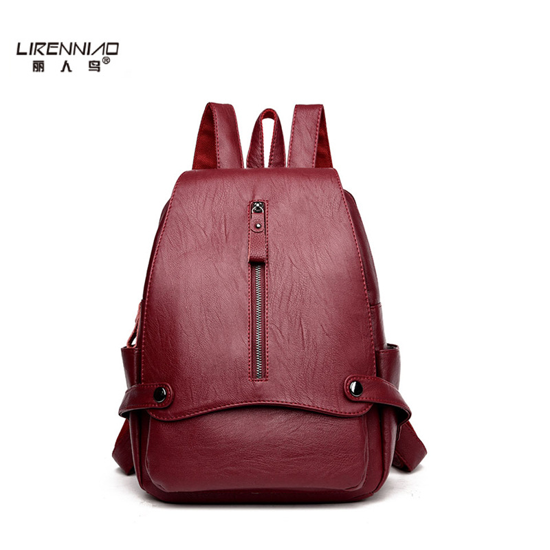 New Fashion Leisure Women Backpacks Women's PU Leather Backpacks Female school Shoulder bags for teenage girls Travel Back pack fashion women backpack black soft leather backpacks female school shoulder bags for teenage girls travel back pack sac a dos