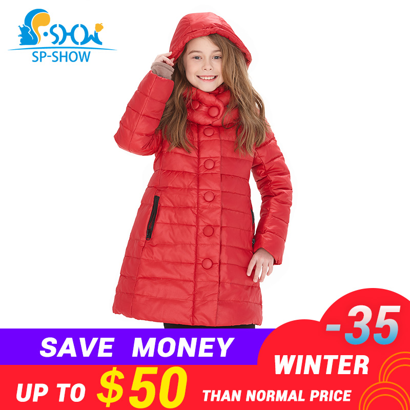 Kids Down Coats SHW Winter down jacket Coat Thicker Warm Jacket New Fashion For Big Children Girl Winter Jacket Luxury Brand