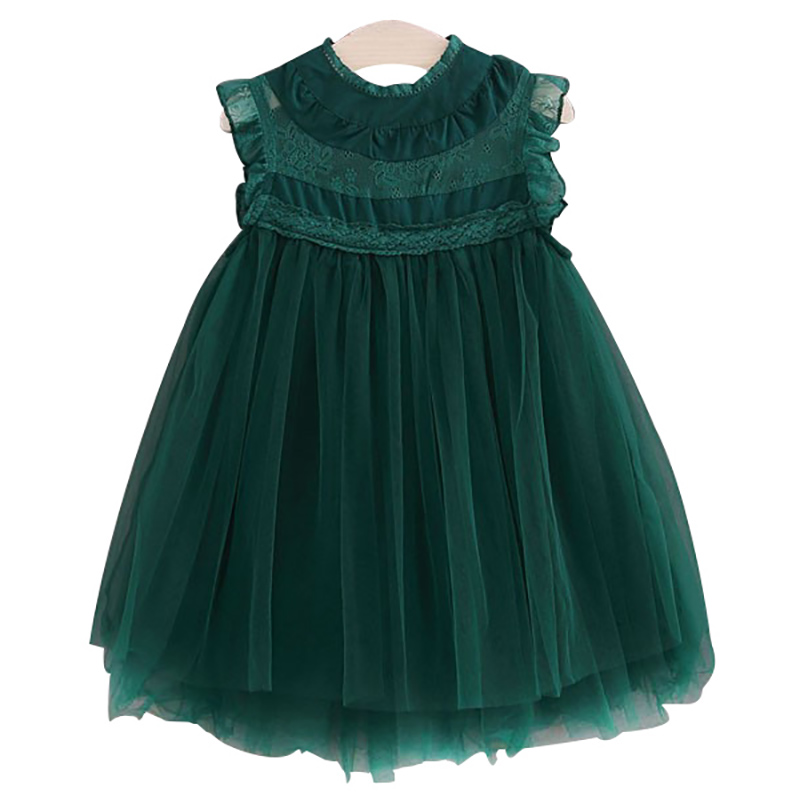 2018 Girls Dress Ball Gown Children Princess Clothing Sleeveless Party Dresses O-neck Knee-length European Style Kids Clothes summer princess o neck embroidery bow clothes children girls crown print dresses wholesale sleeveless boutique clothing 5pcs lot