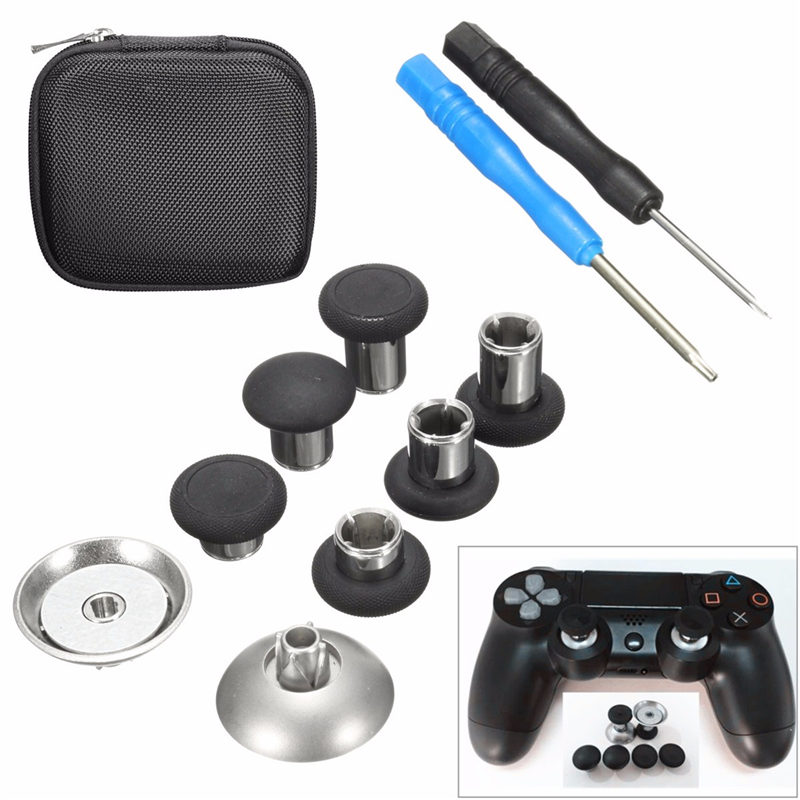 For <font><b>Xbox</b></font> One 8pcs Thumb Stick Grip Metal Bumper Trigger Button Wireless Controller Repalcement Kits With Screwdriver Storage Bag