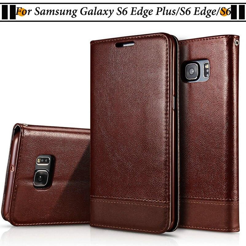 Cassa Del Telefono Per Samsung Galaxy S6 Bordo JURCHEN Più la Cassa Del Raccoglitore Copertura Della Cassa del cuoio Della Copertura di Vibrazione Per Samsung Galaxy S6 S6 Bordo Coque