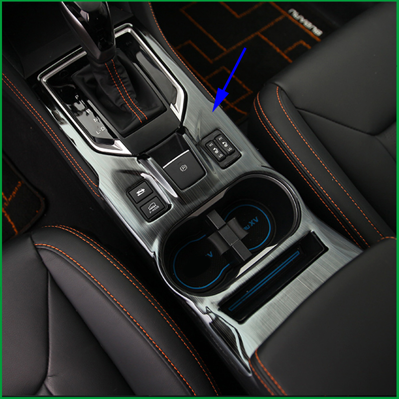 Car Accessories For SUBARU XV 2018 LHD Interior Stainless steel Gear Shift Panel Water Cup Frame Cover Sticker Trim Car styling carbon fiber grain abs gears shift panel trim cover frame decor sticker for chevrolet camaro 2017 car styling