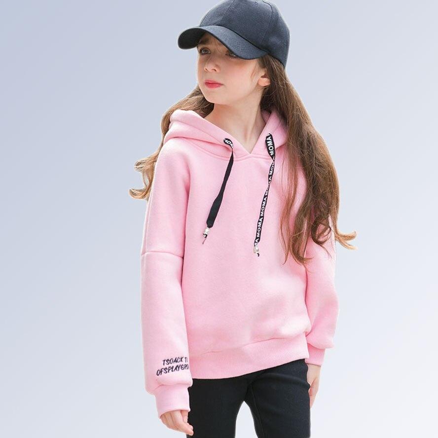Teenage Girl Hoodies Winter Candy Color Sweatshirt Sweater With Fleece Hooded Kid Clothes 6 7 8