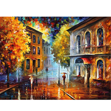 DIY 5D Diamond Painting Rain In The City Street landscape Full Round Drill Wall Decor Mosaic Embroidery Cross Stitch