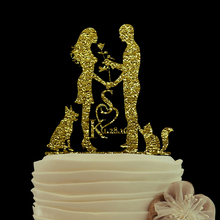 Gold Glitter cake topper Custom Wedding Cake Toppers Love With Heart Bride And Groom Cake Toppers Personalized Cake Toppers