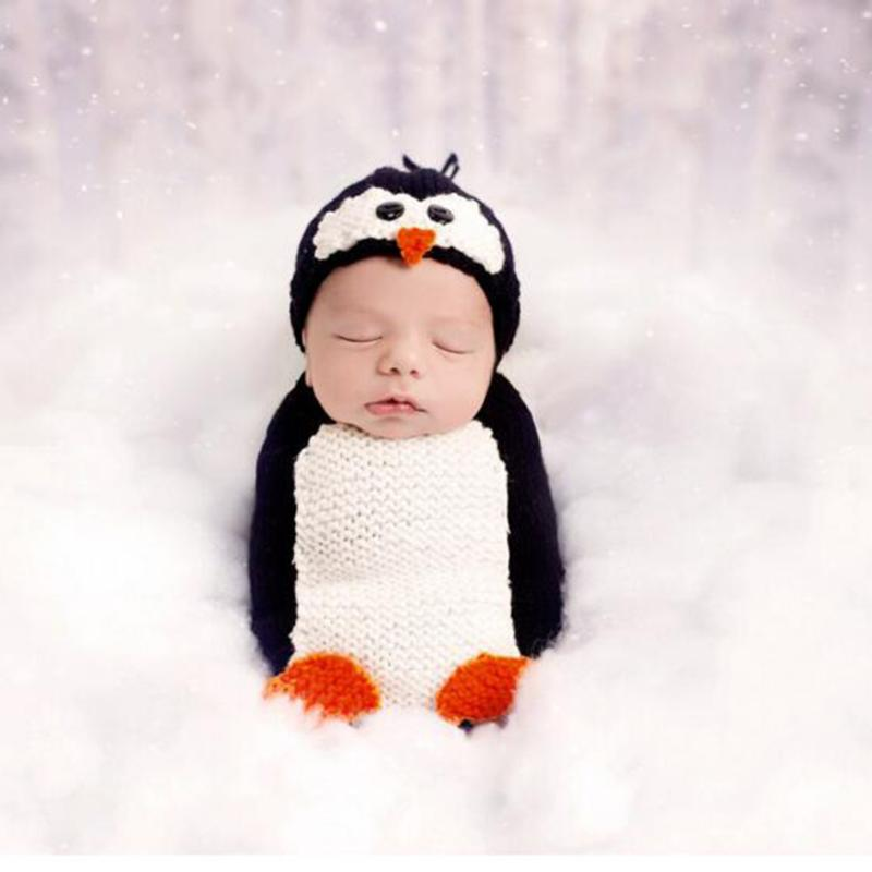 2pcs Newborn Cartoon Penguin Crochet Baby Clothing Outfit Baby Costume Knitted Hat+Sleeping Bag Suit Photography Prop пинетки митенки blue penguin puku