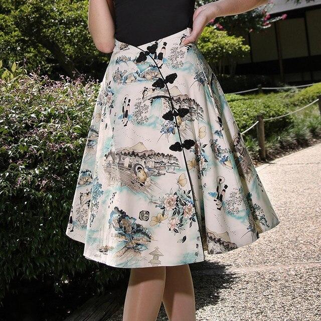 30- women vintage 50s Japan shorea floral print high waist frog button a  line midi skirt rockabilly pinup saia plus size skirts 2f11ff911022