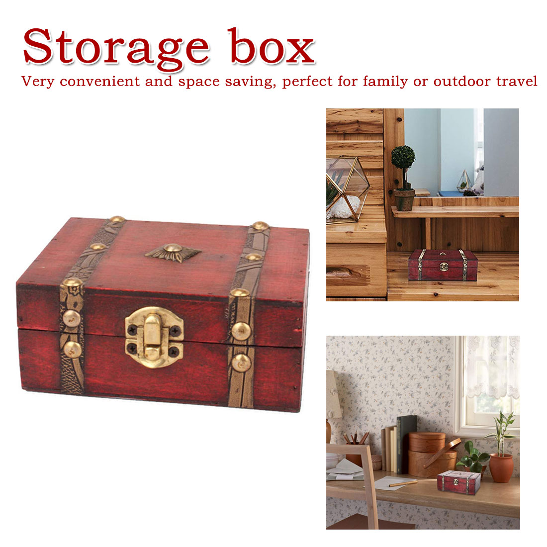 Fashion Vintage Metal Lock Decorative Trinket Storage Box Handmade Jewelry Classic Wooden Treasure storage box(China)