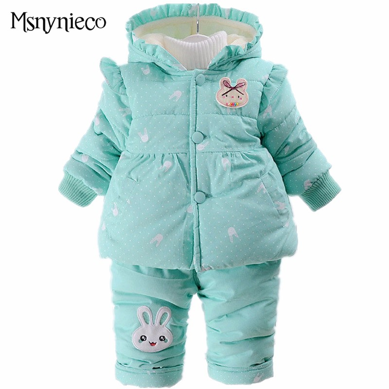 Winter Baby Girl Clothes Sets Children Clothing 2017 Brand Fashion 2pcs Kids Suit Infant Toddler Girls Cute Hooded Coats+Pants fashion brand autumn children girl clothes toddler girl clothing sets cute cat long sleeve tshirt and overalls kid girl clothes