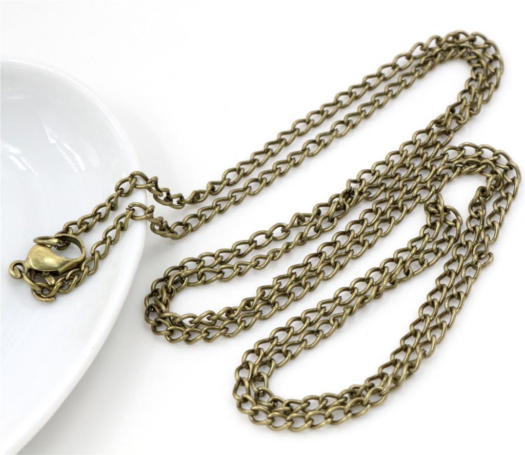 5 шт./лот, 4*3 мм, длина 70 см, 6 цветов, с покрытием, с застежкой-лобстером, ожерелье, соединитель для шармов, камея, кабошон, основа и лоток - Цвет: Bronze