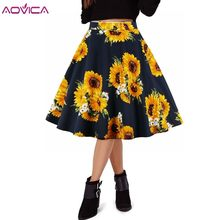 79d84cba9bd Aovica Summer Black Skirt Women High Waist Plus Size Floral Print Polka Dot  Ladies Summer Skirts Skater 50s Vintage Midi Skirt