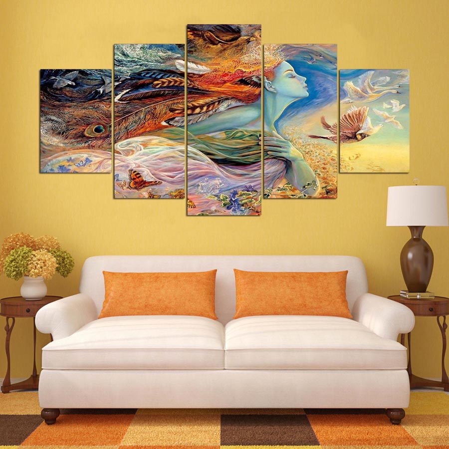 5 Pcs Abstract Painting Canvas Art Indian Girl Oil HD Printed Painting Modern Wall Art Picture Customized Photos-in Painting & Calligraphy from Home & ...