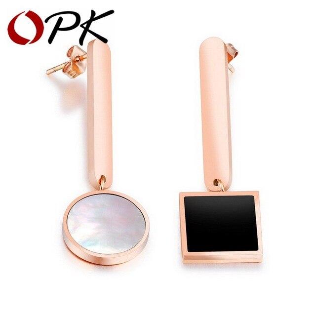 OPK Irregular Rose Gold Color Stud Earrings For Women White Shell
