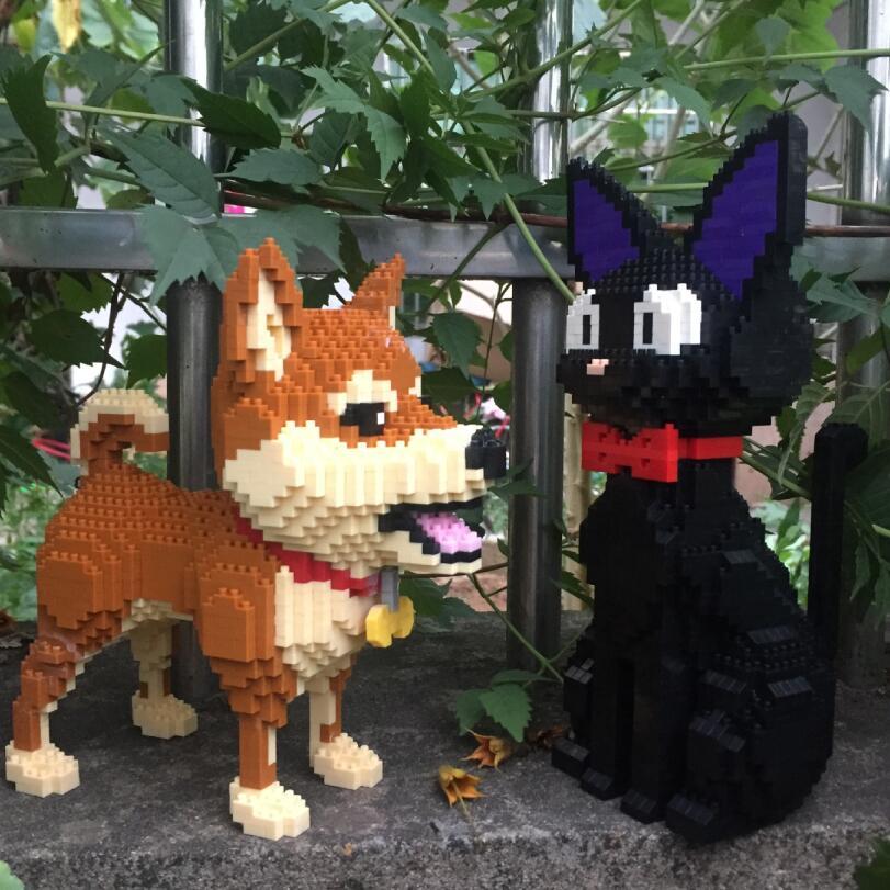 Small Blocks Cute Shiba Inu Model Plastic Building Bricks Dog Educational Kids Toys Cartoon Cat Auction Figures Girls Gifts