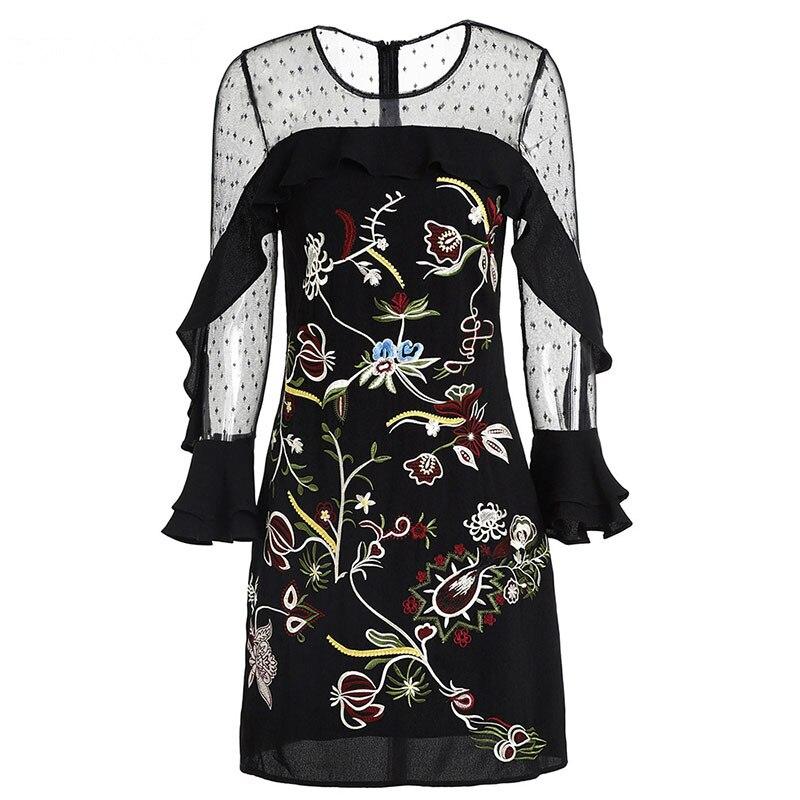 Svoryxiu Ruffles Mesh czarne sukienki na imprezy damskie wysokiej jakości kwiat haft Flare rękawem Runway lato Mini sukienka w Suknie od Odzież damska na  Grupa 3