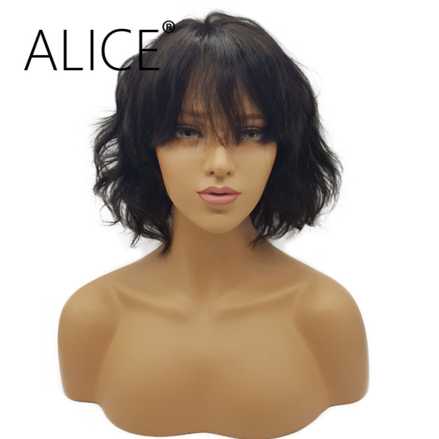 ALICE Hair Wavy Bob Wig Glueless Lace Front Human Hair Wigs With Bangs 130%  Density Remy Hair Pre Plucked Lace Front Wigs 13x4-in Human Hair Lace Wigs  from ... 244d1d60b6f1