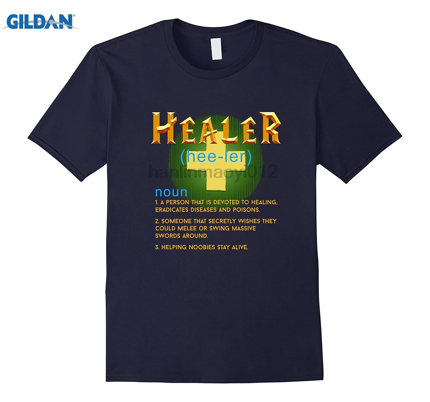 GILDAN FUNNY HEALER T-SHIRT Gamer Geek Nerd Computer Video game quality effect T-shirt Hot Women's T-shirt