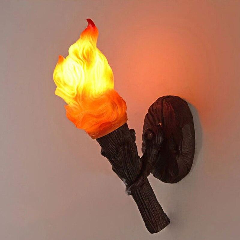 Classique mur LED lampe feu luminaire résine torche applique murale luminaire lampe pour chambre couloir Bar Restaurant applique murale G698