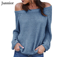 Women Pullover Sweater Off Shoulder Oversized Knitted Autumn Winter Clothes Fashion 2019 Tops Long Sleeves