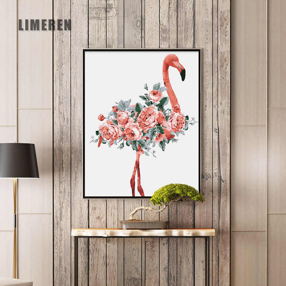 Oil Painting By Numbers Flower Acrylic Paint Wall Painting Flamingo Picture Coloring By Numbers on Canvas Home Decor