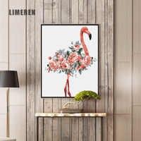 Масляная краска по номерам Цветок акриловая настенная краска ing Фламинго картина Раскраска по номерам на холсте домашний декор