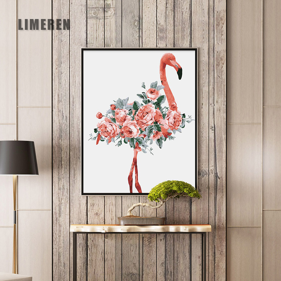 Trend  Oil Painting By Numbers Flower Acrylic Paint Wall Painting Flamingo Picture Coloring By Numbers on