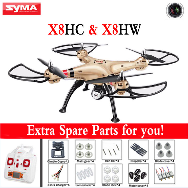 Syma X8HW X8HC 2.4G 4CH 6 Axis RC Helicopter Drone With WIFI 2MP HD Camera Dron with Altitude Hold and Headless Mode RTF ...