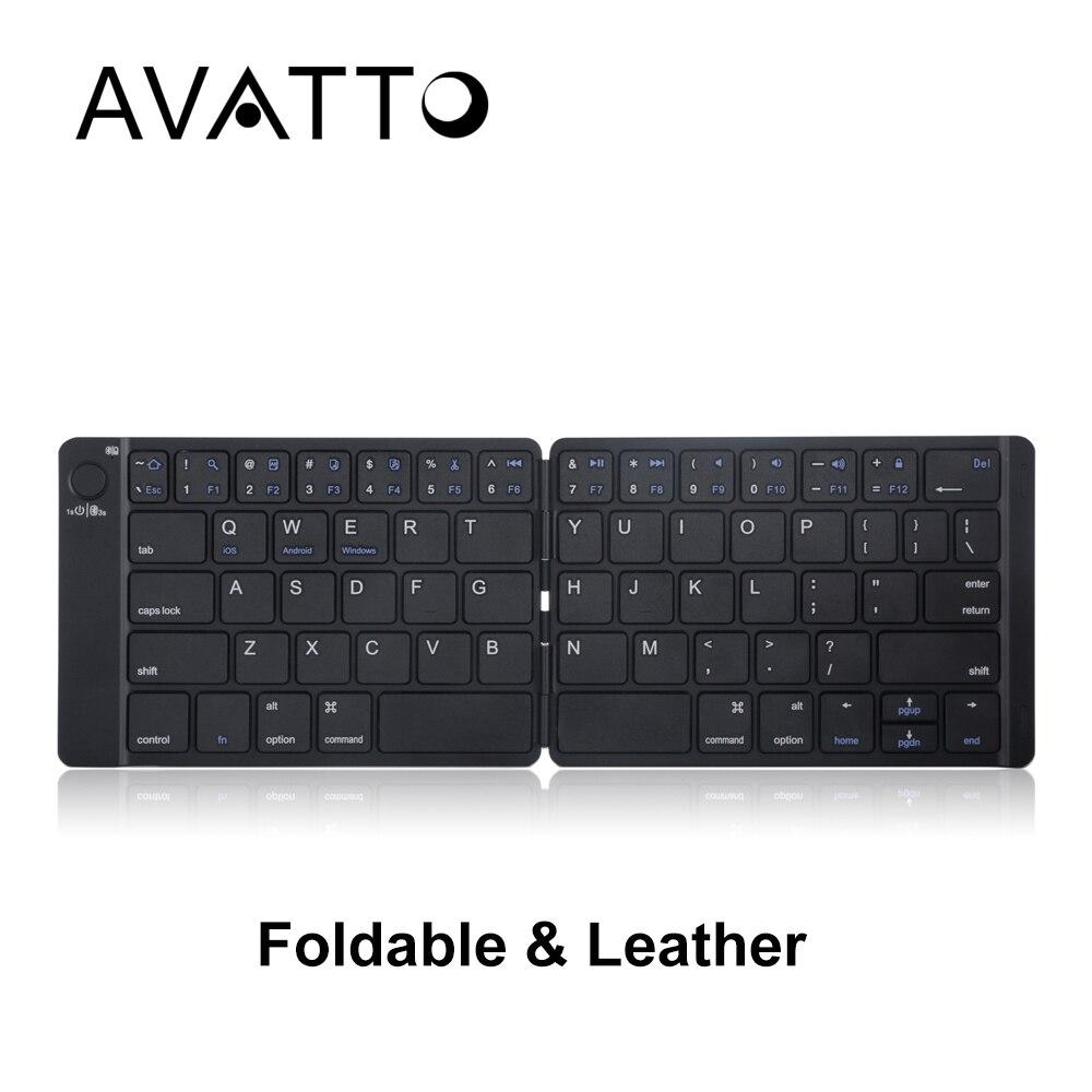 [AVATTO] recargable cuero plegable portátil teclado Bluetooth BT inalámbrico plegable teclado para Android, IOS, Windows iPad Tablet