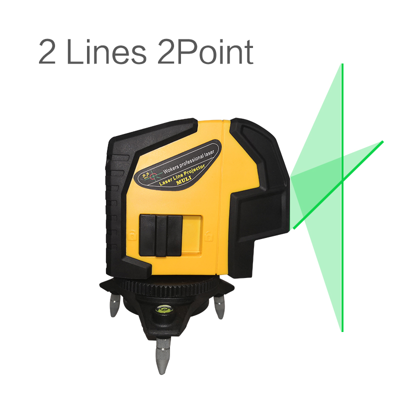 muli Mini 2 Lines 2 Point Cross Lines Laser Level Green Beam Self-Leveling Laser Level with Wall Bracket Base or with Small Base multifunctional laser level clamp holder for 2 lines laser level with 1 4 adapter grip mount stand tripod bracket