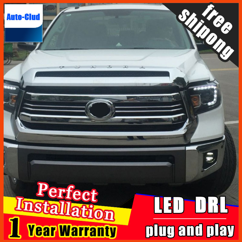 цены Car-styling LED Fog Light For Toyota Tundra 2014 2015 2016 LED Fog Lamp With Lens And LED Day Time Running Ligh DRL 2 function