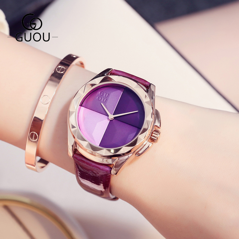 GUOU Watches Fashion Ladies Watch Blush Paragraph Tide Quartz Watch Top Luxury Leather Women Watch Clock saat relogio feminino new top brand guou women watches luxury rhinestone ladies quartz watch casual fashion leather strap wristwatch relogio feminino