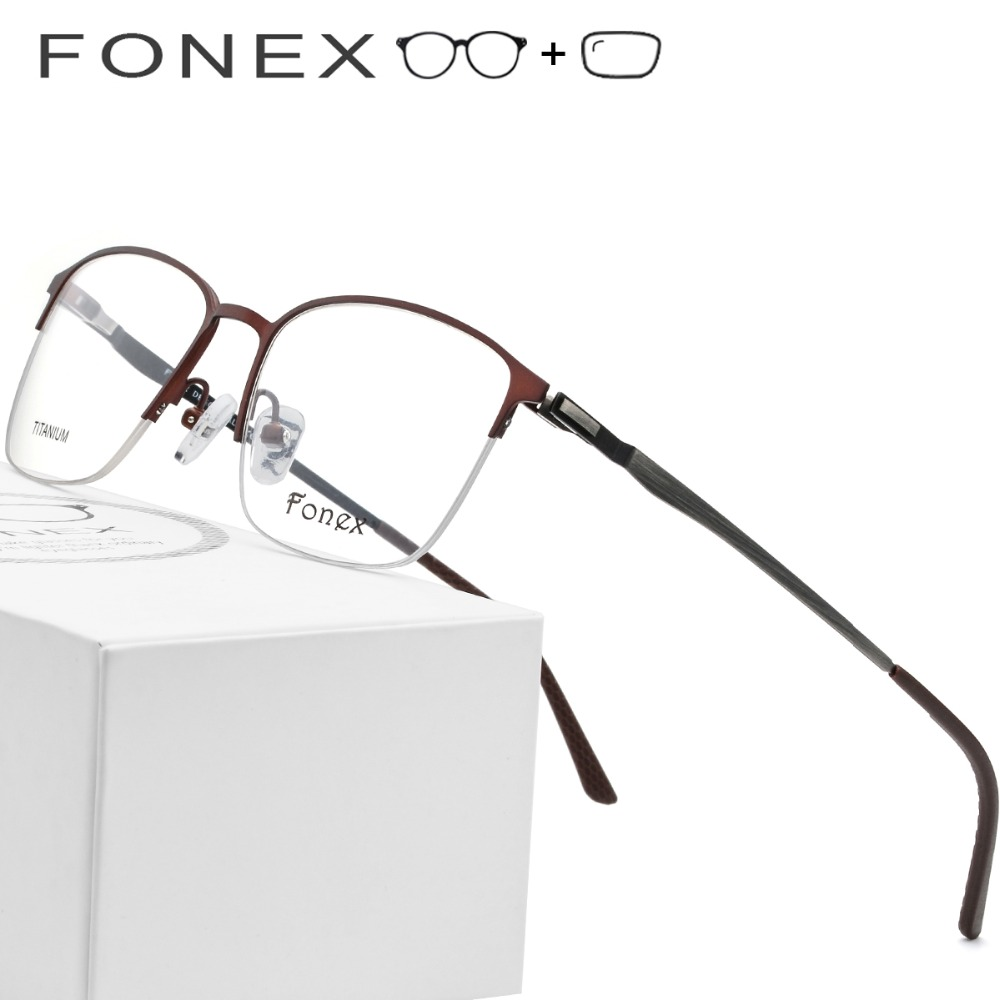 427e5eec13 Detail Feedback Questions about Titanium Alloy Prescription Glasses Frame  Men Ultralight Square Eyeglasses 2019 Male Half Myopia Optical Frame  Screwless ...