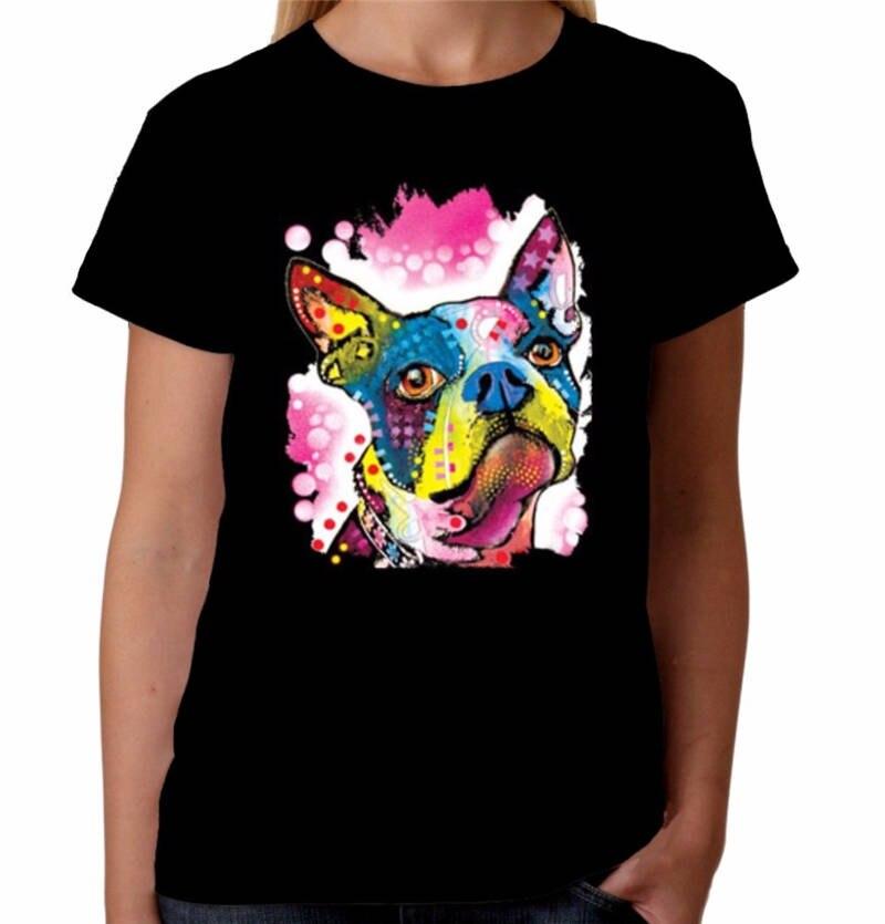 Tee Shirt Tops Design Women Crew Neck Cute Neon Dog Short Sleeve T Shirts in T Shirts from Women 39 s Clothing