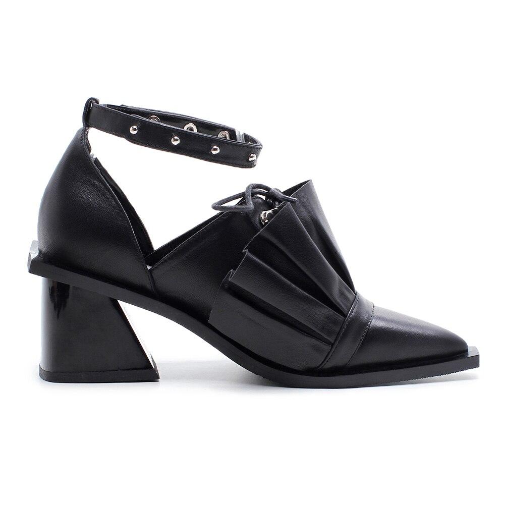 8 De Cm Altos black Remache Las Fuffles Verano La 5 Señaló 2019 Mujer Sarairis Tacones Cuero Mujeres Marca Heel Genuino pink Black Estilo Remolque Sandalias Heel Zapatos Dos 5 Heel 1BwqWdx