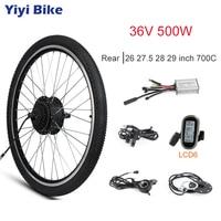 Electric Motor Wheel 36V 500W Brushless Gear Hub Motor Electric Bike Conversion Kit LCD3 Display Bicycle Rear 26 27.5 700C 28 29