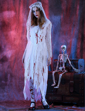 Halloween Scary White Blood Corpse Costumes Cosplay Dress For Women