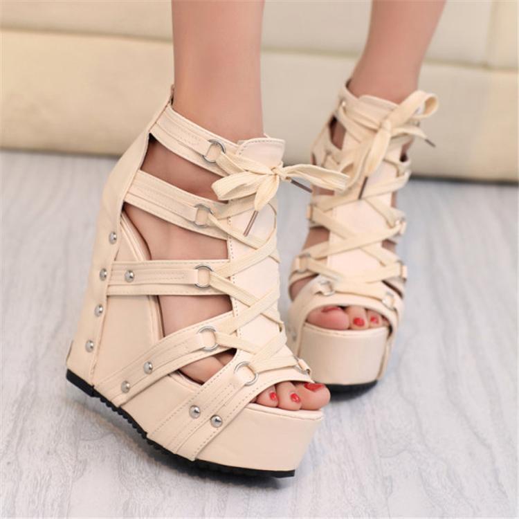 New Stylish Spikes Wedge Ladies Heels Summer Style Ultra High Platform Pumps Leisure Women Stilettos Shoes