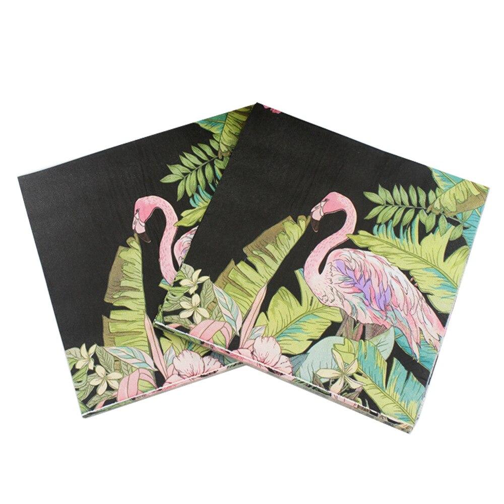 Black 20PCS Flamingo Pattern Paper Napkin 100% Virgin Wood Tissue Napkins For Bachelorette Wedding Hen Party Decoration